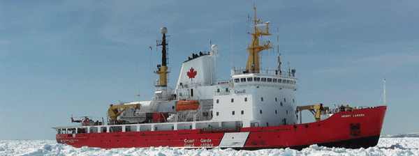 CCGS Henry Larsen breaks ice during the 2007 Ice Jam that caught some 100 vessels off the coast of Newfoundland.