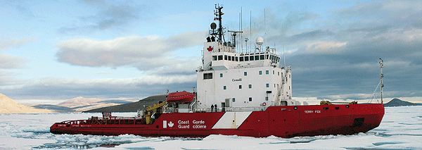 CCGS Terry Fox ice breaking on Canada's many inland waterways.